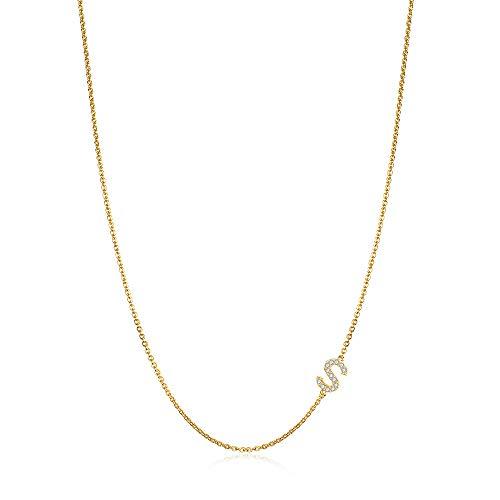 Sideways Initial Necklace for Women, 14k Gold Filled Dainty Sideways Hypoallergenic Women Letter Necklace, Small Monogram Initial Choker Necklace Gifts for Teen Girls Girlfriend
