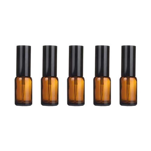 Yardwe Flacon Pulvérisateur en Verre Pack de 5 Flacons Vides en Verre Ambré Flacons de Sous-Emballage Liquide pour Huiles Essentielles Parfum Produits de Nettoyage Aromathérapie (Presse de 15 Ml)