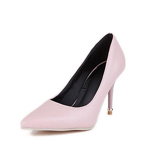 Odomolor Damen Ziehen auf PU Leder Spitz Zehe Stiletto Rein Pumps Schuhe, Pink, 35