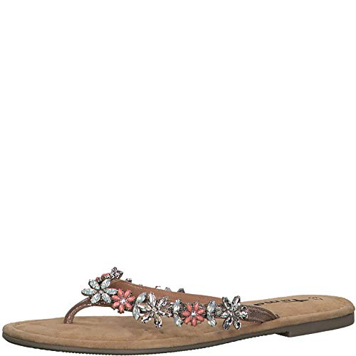 Tamaris Damen Zehentrenner 27125-24, Frauen Flip Flops Leder, elegant Women's Woman Freizeit leger Sandale Sandalette,Rose MET. Comb,40 EU / 6.5 UK