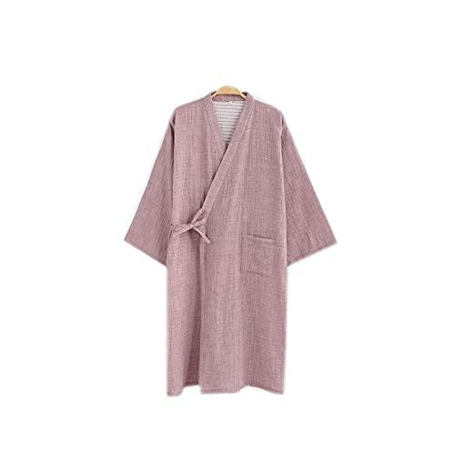 Albornoz japonés de algodón, vestido Summer Gauze fino, Kimono Pijamas largo rosa M