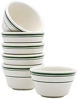 Tuxton Home THTGB004-6B Green Bay Ceramic Mini Bowl, 8-Ounce, Stripe
