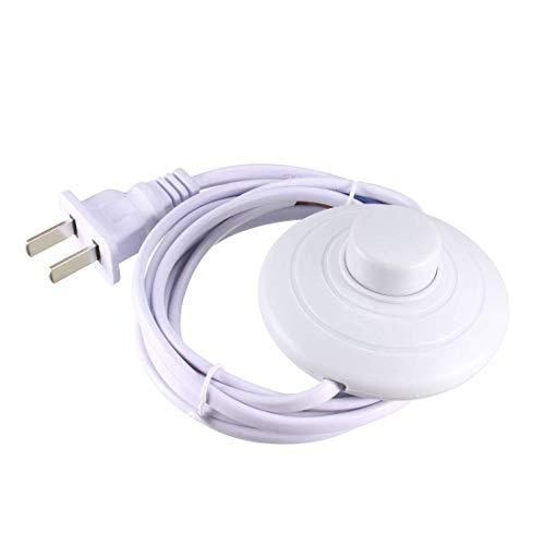 Interruptor de pedal con botón de bloqueo en línea, control de pie de lámpara redondo, interruptor de pie de encendido y apagado con 3 m de cable de enchufe americano, color blanco, 2 unidades