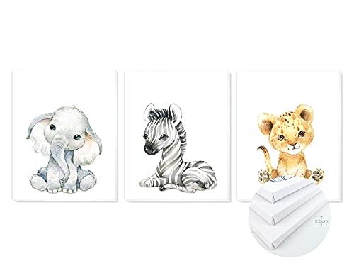 Pack 3 Tríptico cuadros con marco decorativos de lienzo impreso infantiles para decoración pared habitación dormitorio niños con bastidor de madera - 3 cuadros tamaño 40x50cm (Animales Liso)