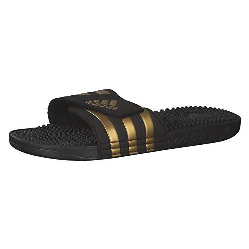 adidas Adissage, Sandales Mixte Adulte- Noir/Or (Core Black/Gold Met./Core Black) - 43 EU