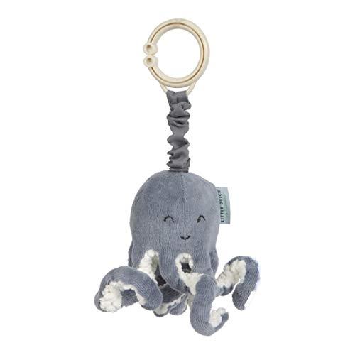 Tiamo Little Dutch 4819 Stoff Aufziehtier Oktopus Tintenfisch Spielzeug für die Babyschale / den Kinderwagen Ocean blau 7x7,5x18 cm