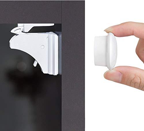 Blocca Cassetti per Bambini (12 serrature + 3 chiavi), Newlemo chiudi cassetti bambini magnetici - Installazione Semplice in Pochi Secondi, Senza Attrezzi o viti Necessarie