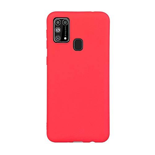 CUZZCASE Funda para Samsung Galaxy A21S+{Protector de Pantalla de Vidrio Templado} Carcasa Silicona Suave Gel Rasguño y Resistente Teléfono Móvil Cover-Rojo