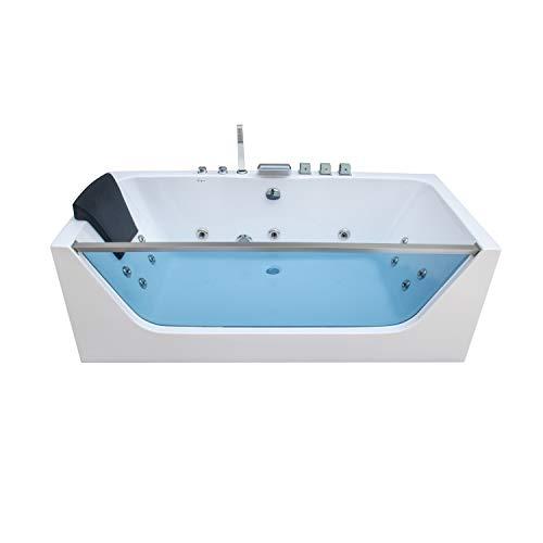 "Empava 59"" Acrylic Alcove Whirlpool Bathtub Hydromassage Rectangular Jetted Soaking Tub with Center Drain 3-Side Apron Model 2021"