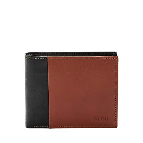 Fossil mens Rfid Bi Fold Wallet, Black, 4.63 L x 1 W 3.75 H US