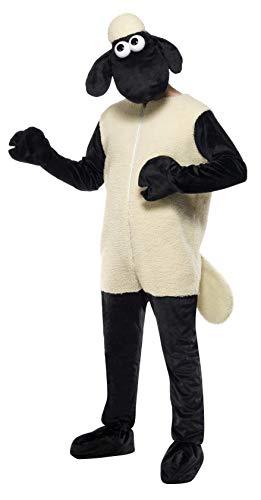 Smiffys Męski kostium Shaun owca, kombinezon i nakrycie głowy, jeden rozmiar, kolor: czarny i biały, 31329