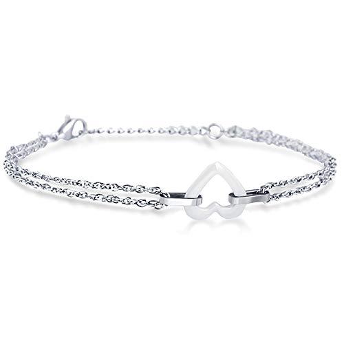 Joielavie Armband für Damen und Mädchen, aus Keramik, mit kleinem Herz, doppelreihig, einfache Kette, Schmuck, Geschenk, Weiß