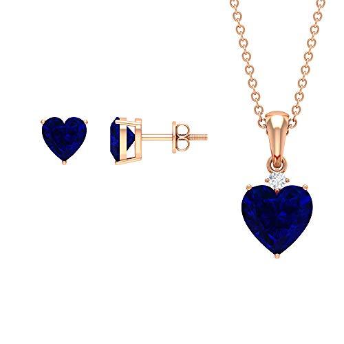 Juego de collar y pendientes de zafiro azul creado en laboratorio de 3 quilates, juego de joyería solitaria, juego de colgante de oro, joyería de diamantes HI-SI azul