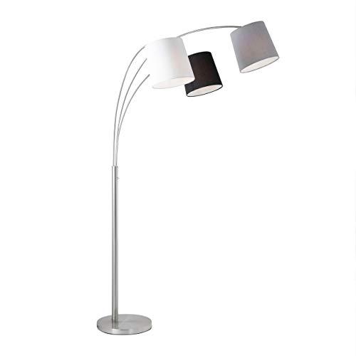 Retro-Stehlampe Textilschirm Stoffschirm weiß grau schwarz, Stehleuchte 3x E27, ohne Leuchtmittel