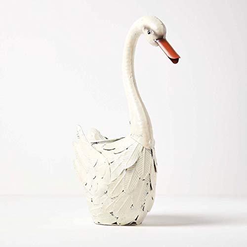 Homescapes - Scultura decorativa da giardino con cigno bianco, in metallo, dipinta a mano, con uccellini in ferro, per giardino, laghetto e balcone, ca. 41 cm