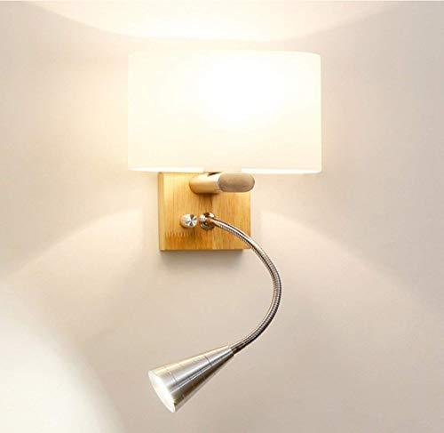 Wandlamp met flexibele 3W LED-leeslamp, stoffen kap, 3-voudige knopschakelaar