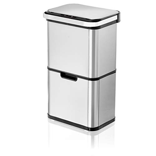 AMARE Innovativer Sensor Mülleimer, 54 Liter Fassungsvermögen mit 3 Fächern und Ozongenerator zur Verminderung von Bakterien und schlechter Gerüche, mit Dufteinsatzfach, Edelstahl