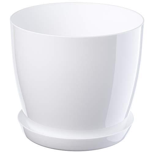 KADAX Blumentopf, Pflanzkübel mit Untersetzer, runder Blumenkübel für Innen, eleganter Pflanztopf aus Kunststoff, Übertopf für Blumen, Pflanzen, Haus, leichtes Pflanzgefäß (Ø 12 cm, Weiß)