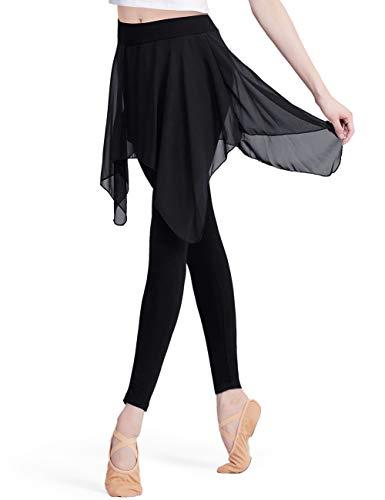 HiDance Skirted Leggings for Women, Yoga Pants Stretchy Ballet Dance Leggings Chiffon Skirted Tights for Ballet Latin Salsa Tango Ballroom Training(M)