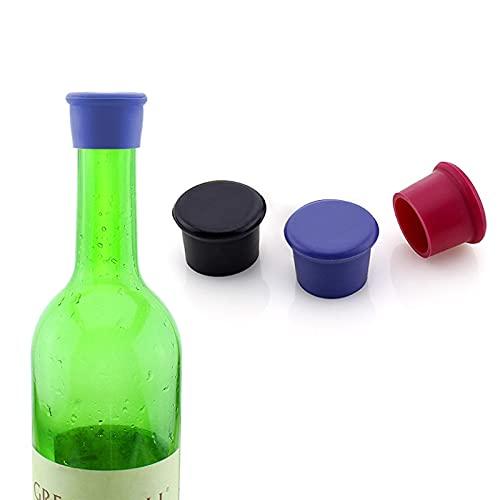 ITME 3 Piezas Tapones para Botellas, Tapones de Vino Silicona, Tapa de Botella de Vino,Botella de Cerveza Reutilizable Tapón de Botella de Vidrio Tapón de Botella de Champán (Negro/Rojo rosado/Azul)