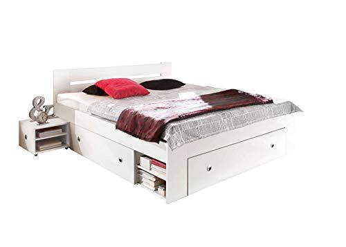 Avanti Trendstore - Stefan - Futonbettgestell mit 2 Nachttischen und 3 Bettschubkästen inklusive, aus Holzdekor in 2 erhältlich, Maße BHT: Bett 145x86x204 cm, Nachttische 40x30x40 cm