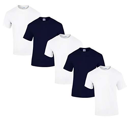 Gildan 5 Stück Heavy Cotton T-Shirt Herren Shirt S - 3XL Schwarz Weiß (L, 3Weiss/2Navy)