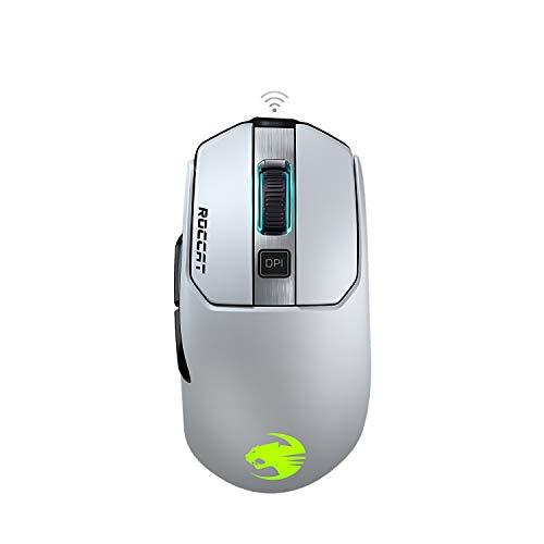 Roccat Kain 202 AIMO RGB - Ratón inalámbrico para Videojuegos (16.000 dpi, Sensor de Ojo de búho, 89G Ultraligero, tecnología Titan Clic), Color Blanco