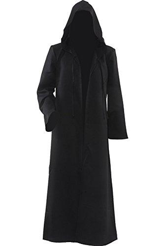 Túnica negra con capucha para hombres y niños, disfraz de Halloween, color negro, talla XL