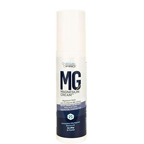 All Natural Magnesium Cream - Magnesium Oxide w/Vitamin B6 - Muscle & Nervous System Calming Support - Helps Heart, Digestion, Anxiety - 3oz