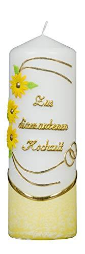 Meissner-Handel Auswahl * Stumpenkerze ''Zur Diamantenen Hochzeit'' * 6 x 18 cm * gelb * mit farbigen Wachsauflagen * (Motiv 005) Auswahl Motiv + Farbe