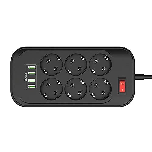 GYL Regleta Enchufes, Regleta Múltiple De 6 Enchufes 4 Enchufes USB Toma De Corriente con Protección contra Sobrecargas Y Interruptores 2500W 17W 5V 3.4A 2M para Teléfono Hogar Oficina, Negro