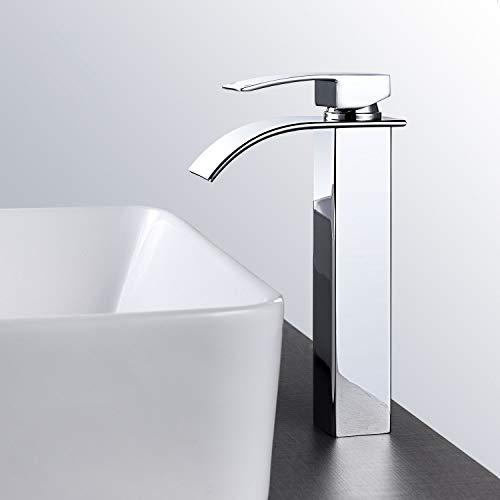 MEHOOM - Rubinetto per bagno alto, miscelatore per lavabo a cascata, miscelatore per lavello, rubinetteria con beccuccio rettangolare, acqua fredda e calda disponibile, stile moderno cromato