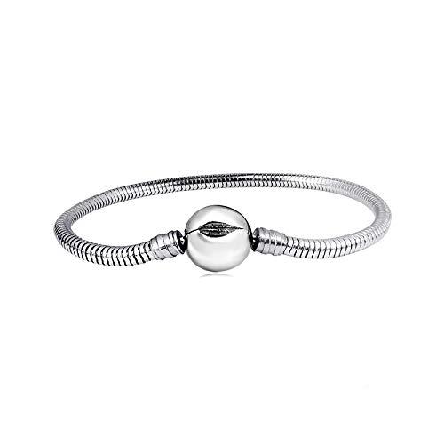 KunBead Jewelry Snake Chain Charm Bracelets with Heart Clip Lock Clasp Beads for Women Girls Jewellery Marking 7.9''