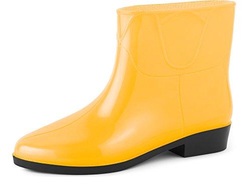 Ladeheid Botines Botas de Agua Zapatos Mujer LAZT201801 (Amarillo, 37 EU)
