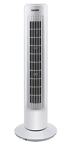 EXTRASTAR Ventilador de Torre Oscilante, 50W Potencia, 72cm de Altura, 3 Velocidades, Oscilación de 70 °, Diseño Exclusivo