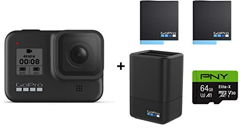 GoPro HERO8 Black Action Camera w/GoPro Dual Lithium-Ion Battery Charger with 2 Total Batteries + 64GB Memory Card