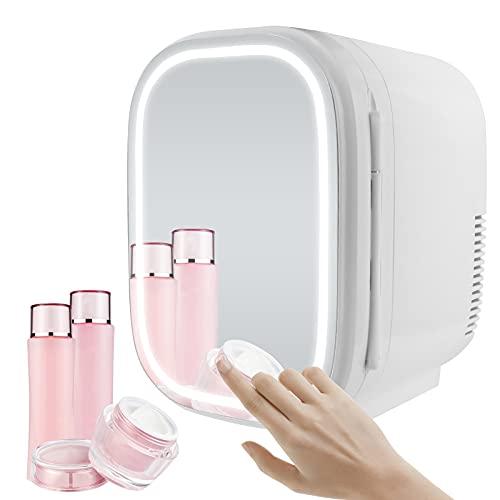 Novhome Mini nevera de 6 L, cuidado de la piel nevera AC DC espejo de belleza nevera para dormitorio 48 W con luz enfriador y calentador para maquillaje coche