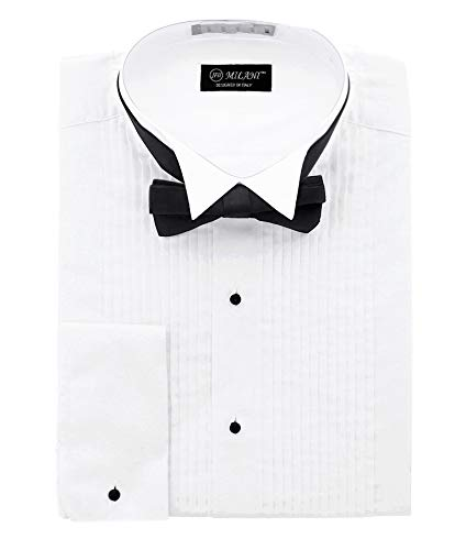 Milani Men's Tuxedo Shirt with French Cuffs and Bow Tie 15.5', 32/33 White