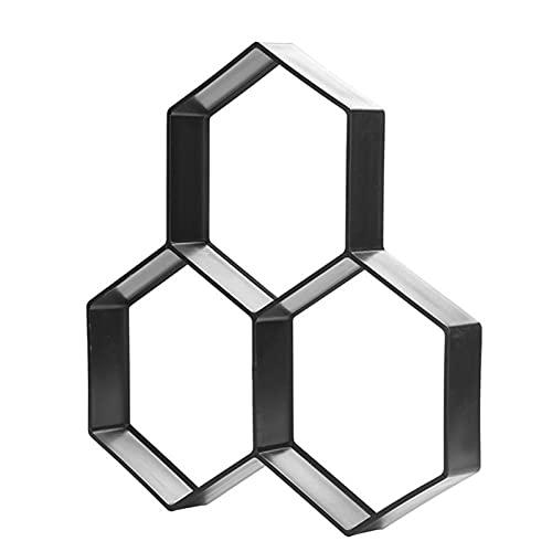Jardín hexagonal pavimento molde de cemento molde de ladrillo camino de hormigón ladrillo plástico trayectoria molde de fabricante para el piso de la baldosa ruta (Color : Black)