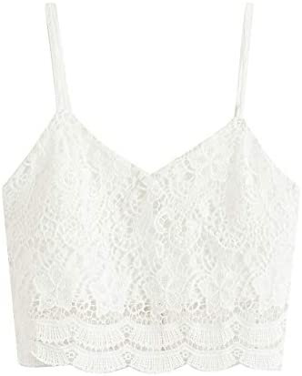 SheIn Women s Casual Lace Crochet Spaghetti Strap Zip Up Cami Crop Top Camisole Large White product image