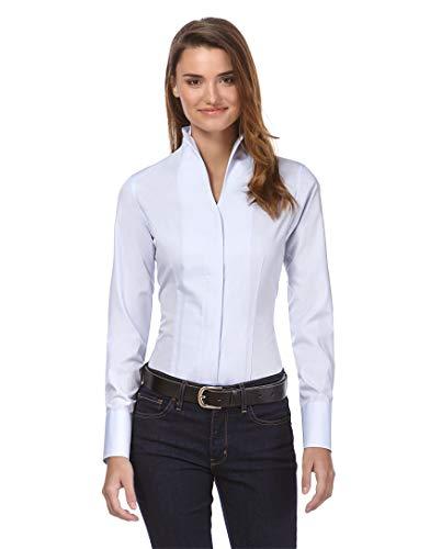 Vincenzo Boretti Damen Bluse mit Kelchkragen leicht tailliert 100% Baumwolle bügelleicht Langarm Hemdbluse mit Stehkragen elegant festlich auch für Business eisblau 38