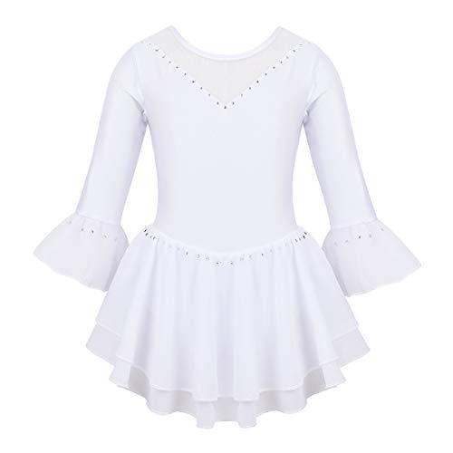 FEESHOW Kinder Mädchen Ballettanzug 3/4 Ärmel Eislaufkleid Trikot Body Overall mit Mesh-Spleiß Tanz Kostüm für Gymnastik Eislaufen Weiß 158-164/13-14 Jahre