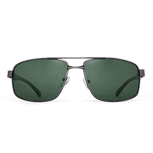 JM Occhiali da Sole Polarizzati Rettangolari Leggeri per Uomo Protezione UV400 Stile Retrò (Montatura Canna di Fucile/Lente Verde Polarizzata)