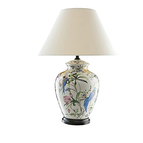 SHYPT Flor y pájaro Pintado a Mano, lámpara de Mesa de Cristal de cerámica para Sala de Estar, lámpara de Mesa de mesita de Noche para Dormitorio para Dormitorio