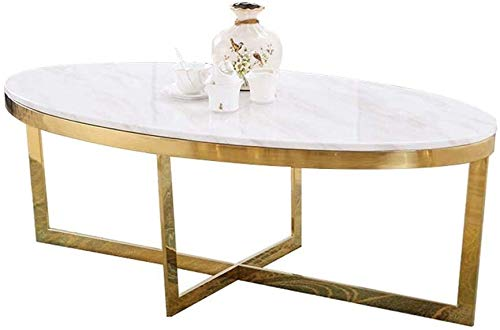 LAZ Marble Oval Coffee Table, White, Solid Thick Iron Frame, Living Room Small Apartment Sofa Side Tea Table