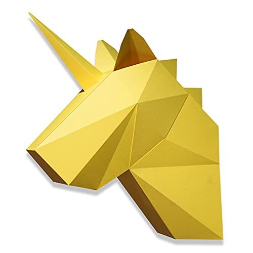 WLL-DP Cabeza De Unicornio Modelado De Arte Modelo De Papel De Bricolaje 3D Rompecabezas De Origami Trofeo De Papel Juego Hecho A Mano Escultura De Papel Decoración Geométrica Creativa De La Pared