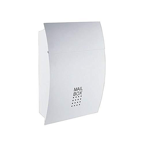 Afsluitbare weerbestendige postbus postbus - High Security stalen vergrendeling muur gemonteerde postbus - Office Drop Box - Comment Box - Brievenbus - Deposit Box, zwart, wit Afmeting: 45,5x5x37cm