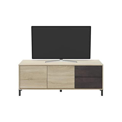 Mueble de TV con 2 puertas y 2 cajones Brook estilo industrial con efecto madera envejecida vintage
