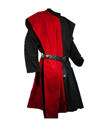 Shaoyao Herren Mittelalter Tunika Seitliche Öffnung Einfarbig Kittel Renaissance Viktorianisch Wikinger Pirat Kleidung Halloween Cosplay Kostüm (Ohne Gürtel) Rot Tag S/EU XS
