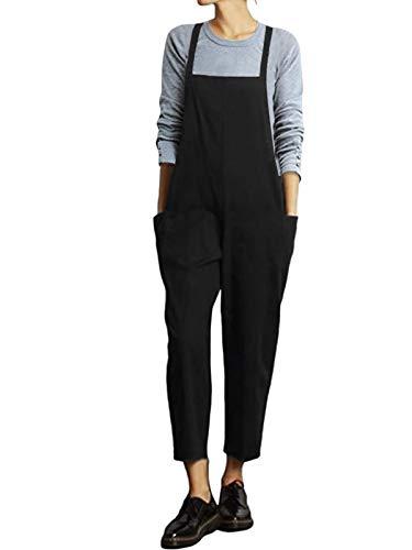 VONDA Damen Latzhose Retro Lange Overall Größe Jumpsuit Baggy Sommerhose A-schwarz L